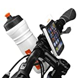 Ibera Bicycle Handlebar Waterproof iPhone 5, iPhone 5s, iPhone 5c Smartphone Case, with Bottle Cage Adapter, Quick-Release, White