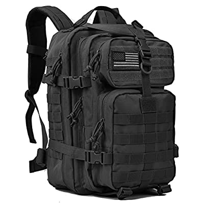 REEBOW GEAR Military Tactical Backpack Large Army 3 Day Assault Pack Molle Bug Out Bag Backpacks Rucksacks for Outdoor Sport Hiking Camping Hunting 40L Black by REEBOW GEAR