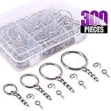 Swpeet 300Pcs Sliver Key Chain Rings Kit, 100Pcs