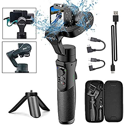 3-Axis Handheld Gimbal Stabilizer for GoPro Action Camera  Splash Proof Gimbal Tripod Stick for Gopro 2018 7 6 5 4  Sony RX0  SJCAM  YI-CAM Time-Lapse  APP Control  12h Run time