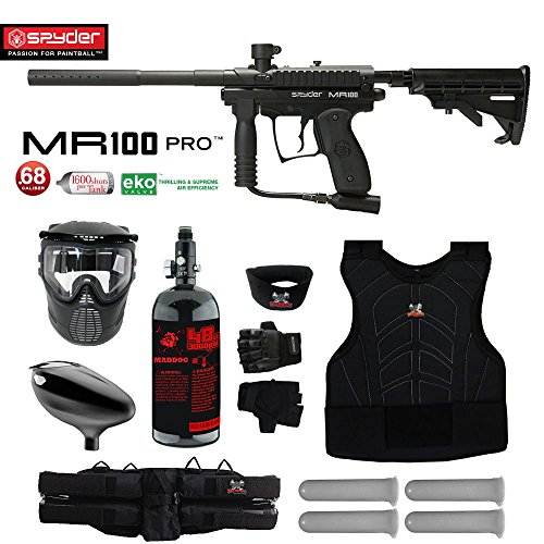 MAddog Spyder MR100 Pro Starter Protective HPA Paintball Gun Package - Black