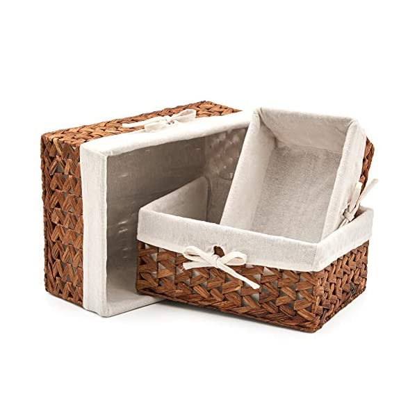 EZOWare Set of 3 Natural Woven Water Hyacinth Nesting Wicker Storage Baskets Organizer Container Bins with Linen Liner – Brown