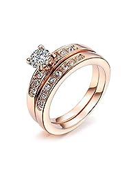 Bella Lotus 0.5 Carat CZ Solitaire Engagement Ring Set with 18k Rose or Platium Plated Wedding Bands