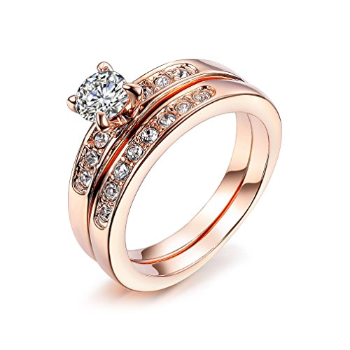 Bella Lotus 0.5 Carat CZ Solitaire Engagement Ring Set with 18k Rose Gold Plated Wedding Bands, Size 7 (Wedding Band Set White Gold)