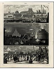Castle Fireworks Rowing Race Crew Festival 1855 antique print w  amazing details