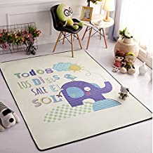 Ustide Modern Style Baby Play Mat for Floor, 57 x 76.8 Inches   Reversible Thick, Extra Large Cotton Playmat For Kids,Elephant