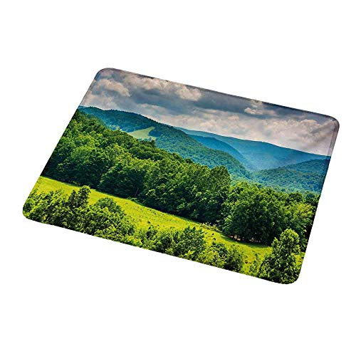 Gaming Mouse Landscape,View of Mountains in Potomac Highlands of West Virginia Rural Scenery Picture,Forest Green,Customized Rectangle Non-Slip Rubber Mousepad Gaming Mouse Pad 9.8