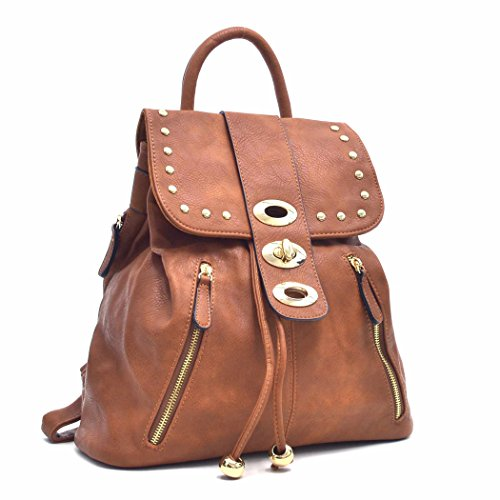 Casual College Leather Women Classic brown Daypack Drawstring Fashion Backpack Bag 6617 Shoulder MKY Faux 5w0dxt5B