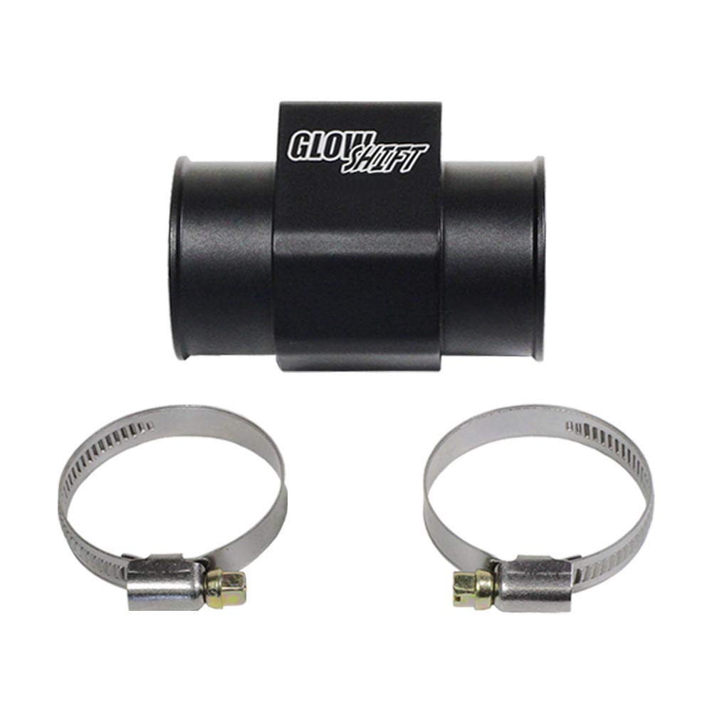 GlowShift 38mm 1-1/2'' Radiator Hose Attachment Adapter for Water Coolant Temperature Gauge Sensor - Includes Hose Clamps by GlowShift