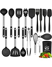Silicone Kitchen Utensil Set, 17pcs Kitchen Cooking Utensils Set, Heat Resistant Non-Stick BPA Free Silicone Cookware with Stainless Steel Handle, Spatula Spoon Turner Tongs Pizza Cutter