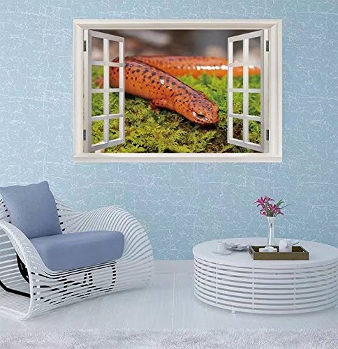 Sophiehome Wall Sticker- Northern Red Salamander, Pseudotrit Window Frame Style Wall Sticker Home Decor (36