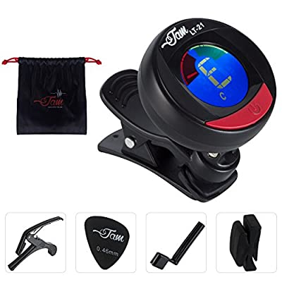 Jam Musical Instrument Set - 1x Electronic all instrument clip-on Tuner, 1x Capo, 1x Screw Opener for Guitar, 2x picks 0.45 mm, 2x Bridge for picks Holder and 1x Matching Bag from Global Kingdom