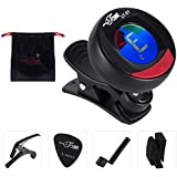 Jam Musical Instrument Set - 1x Electronic all instrument clip-on Tuner, 1x Capo, 1x Screw Opener for Guitar, 2x picks 0.45 mm, 2x Bridge for picks Holder and 1x Matching Bag