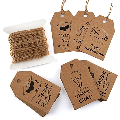 KUUQA 60 Pieces Graduation Gift Tags Grad Kraft Paper Gift Tags with Natural Jute Twine for Graduations Party Gift Decorations (Gift Graduation Tags)