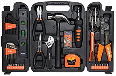 SWITCHEDGE 129 Piece Tool Set for Home and Travel - w/ Ratcheting Screwdriver Tool Kit