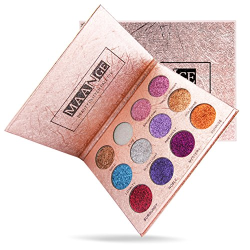 Hot Sale! BYEEE 12 Colors Glitter Make-up Powder Metallic Shimmer Eye Shadow Palette Highly Pigmented Mineral Cosmetic Makeup Eyeshadow,colorful eyeshadow palette (Multicolor)