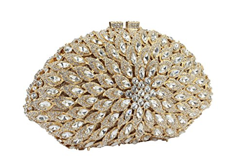 Yilongsheng Forma de abanico de las mujeres bolsos de embrague de la boda (oro + blanco)