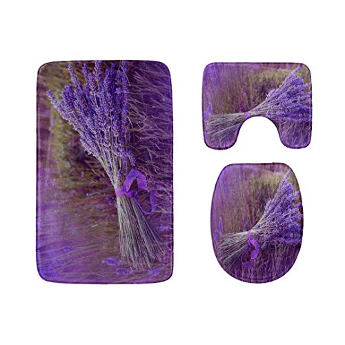 Rh Studio Bathroom Mats Sets 3 Pieces Lavender Flower Ribbon Field Toilet Rugs Set Non-Slip Durable Polyester Bath Rug Contour Mat Lid Cover Rug