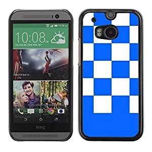 Graphic4You Checkered Pattern Design Hard Case Cover for HTC One (M8) (Royal Blue)