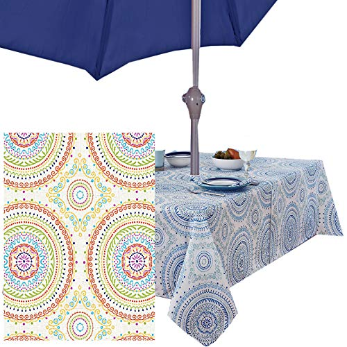 Newbridge Circle Stitch Contemporary Print Indoor/Outdoor Soil Resistant Fabric Tablecloth - 60 X 84 Oblong Zippered Umbrella Hole Patio Tablecloth, Multi (Multi Tablecloth)