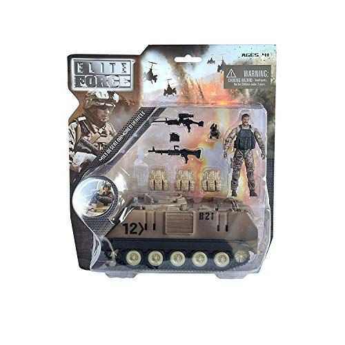 Elite Force Assembly-Free M113 Desert Armored Military Vehicle with 1/18 Scale Gunner Action Figure, 2 Machine Guns, 3 Utility Packs and 2 Gunner Hatches for Indoor (Exclusive Edition)