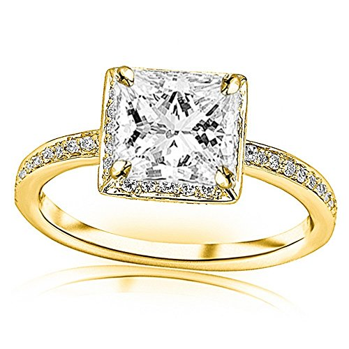 Victorian Rose Cut Diamond - 1.05 Ctw 14K Rose Gold GIA Certified Princess Cut Victorian Halo Style Square Shaped Pave Set Round Diamond Engagement Ring, 0.75 Ct D-E VVS1-VVS2 Center