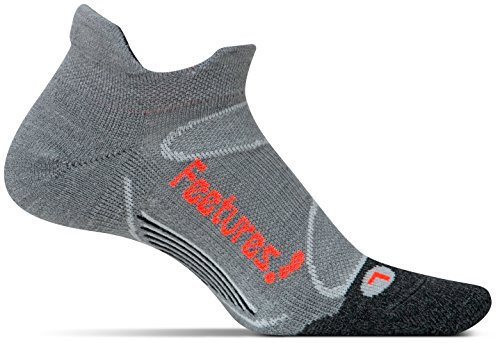 Price comparison product image Feetures! Men's Elite Merino+ Cushion No Show Tab, Gray + Lava, Large
