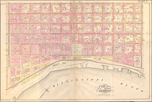 Poster 1883 Map Of French Quarter Neighborhood From Robinson'S Atlas Of The City Of