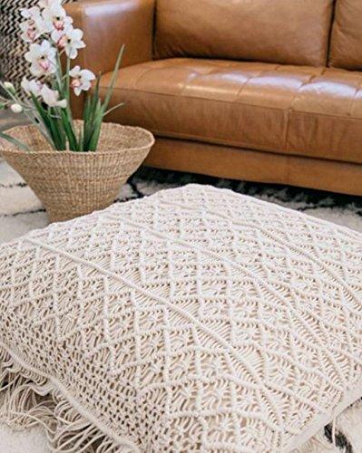 "American Knit New Bohemian 1 Set of 2 Pcs Decor Boho Decor Home Macrame Cushion Cover & Pillow Cover 24"" x 24"""