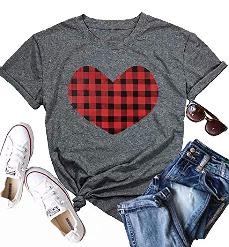 (JINTING Cute Graphic Tee Shirts for Women Teen Girls Junior Letter Print Heart Graphic Tee Shirts with Sayings Grey)