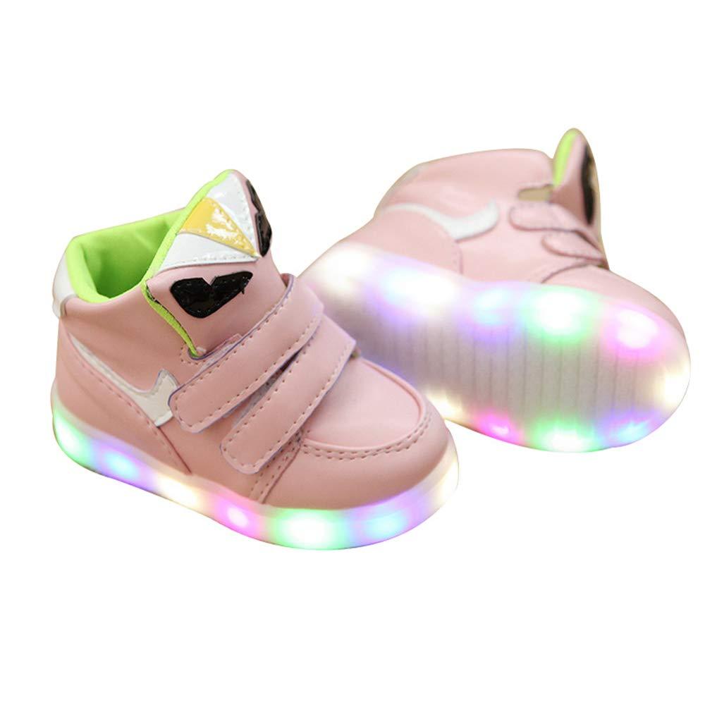 edv0d2v266 Kids Shoes Flying Woven Casual Shoes boy Girls LED Lights Kids Student Shoes(Pink 25/8.5MUSToddler)