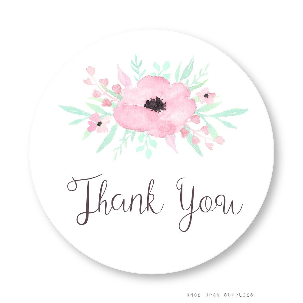 Secret Garden Thank You Stickers with Pink Flowers by Once Upon Supplies, Wide Mouth Mason Jar Labels, Party Favor Seals, Gable Box Labels, 2.5'', 36 Pcs