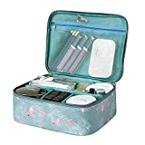 Travel Makeup Bag Waterproof Cosmetic Organizer Multifunctional Case with Compartments Toiletry Bag for Women (Flamingo)