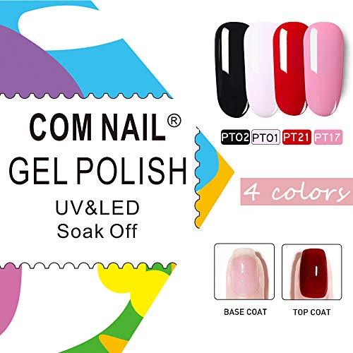 COM NAIL 4 Colors Gel Nail Polish Set with Top Coat and Base Coat Gel Color Nail Gel Polish Color Nail Polish Set Color Gel Set Soak Off Popular Nail Colors Collection Starter Kit Base&Top Coat