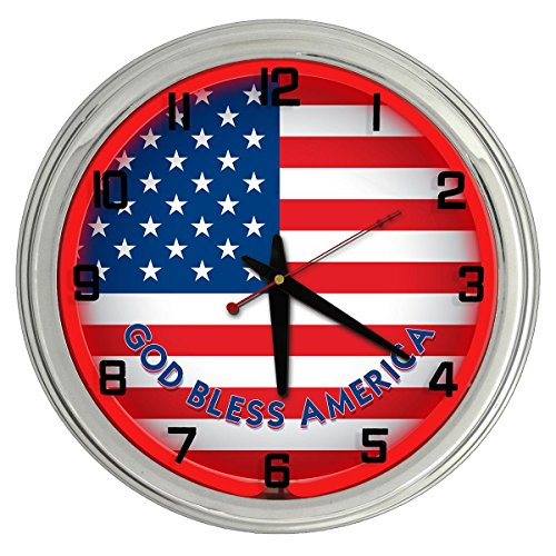 American Flag Red Neon clock from Redeye Laserworks