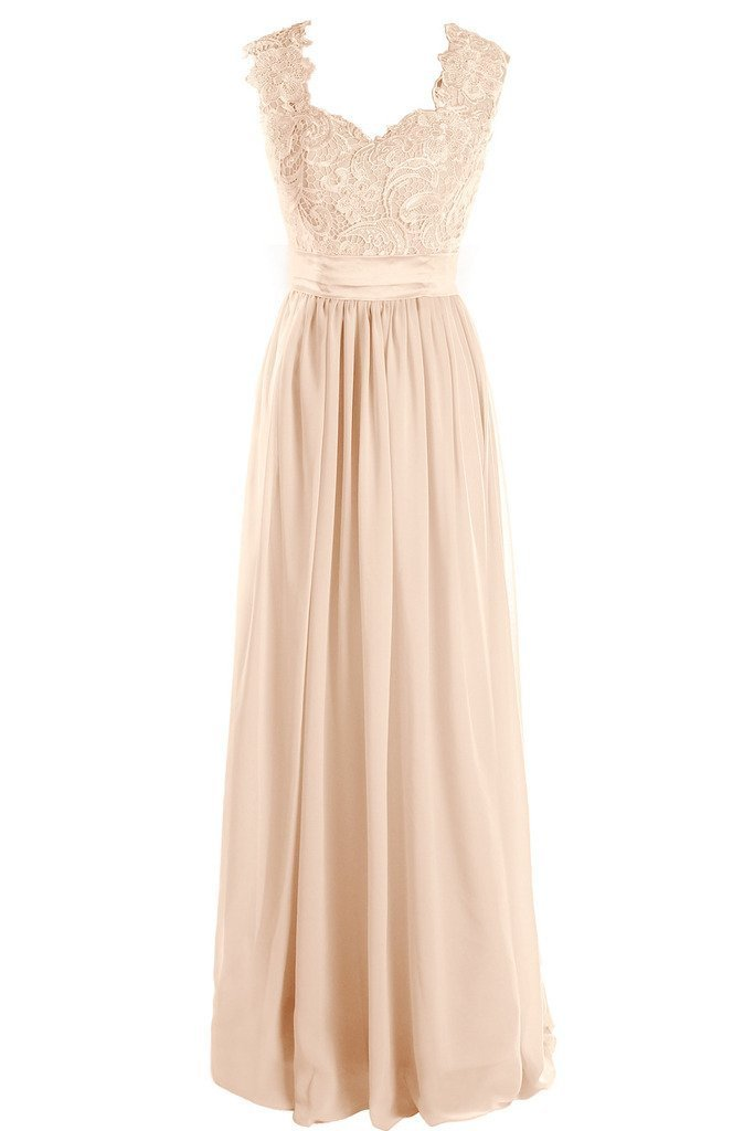 Dressever Women's V Neck Lace Bridesmaid Long Formal Prom Gowns Champagne US4