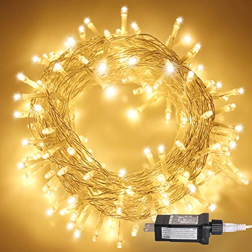 Aluan Christmas Lights Extendable Fairy String Lights 100 LED 33ft+10ft 8 Modes Waterproof Plug in Icicle Lights for Party Wedding Christmas Tree, Window Curtain Patio Decoration (Lights Tree Christmas)