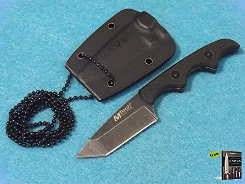 FIXED-BLADE Knife Mtech Mt673 Tanto Neck HUNTING Tactical Sharp Blade Military Knife Black G-10 Handle Stoash Blade 4 7/8