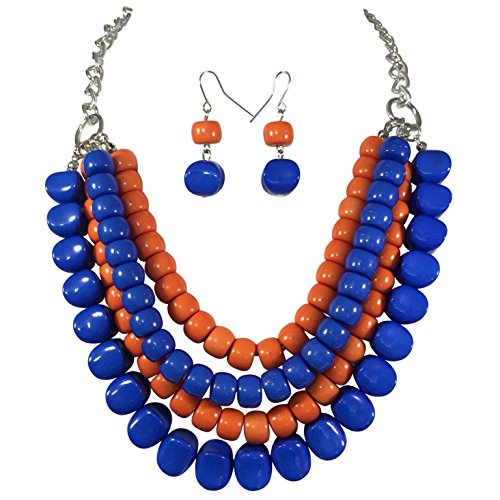Royal Blue & Orange Bead 4 Row Layered Bib Bubble Statement Silver Tone Necklace & Earrings Set
