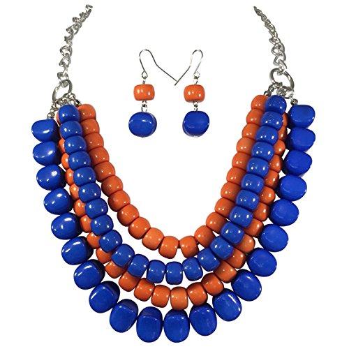 (Royal Blue & Orange Bead 4 Row Layered Bib Bubble Statement Silver Tone Necklace & Earrings Set)
