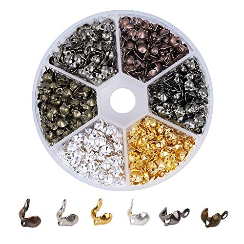 - Pandahall 1Box/700pcs Mixed Color Iron Bead Tips Knot Covers Clamshells Terminators Cord Wire Crimp End Cap 0.3x0.15 Inch Nickel Free Hole: 1.5mm Paper Package