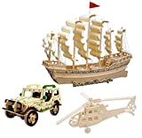 model boats kits to build wood - 3D Wooden Puzzle Toy, Mini Ship Boat Model Puzzle Build Car Fighter Plane Model Kit Toy Best Gift Adult Children, 3 Set