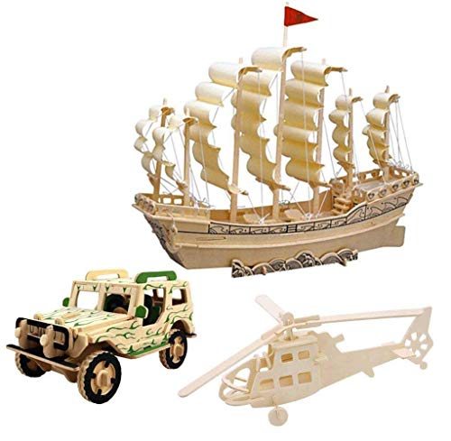 3D Wooden Puzzle Toy, Mini Ship Boat Model Puzzle Build Car Fighter Plane Model Kit Toy Best Gift for Adult and Children, 3 -