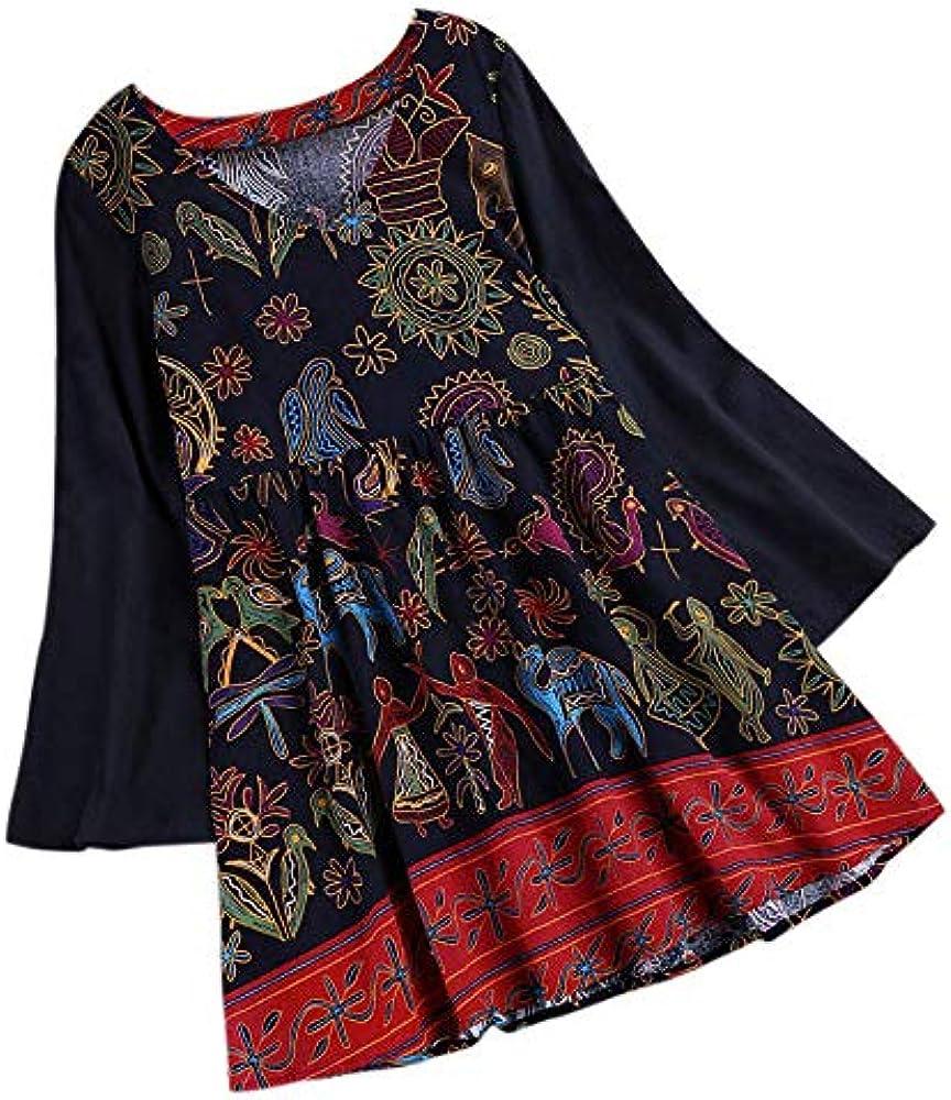 Timagebreze Vestido Camisa de Oto?o Perimavera de Mujer Camisa de Flor Suelta de Estamapdo Floral Boho de Manga Larga de V Cuello Vintage Vestido de lmazuela de Lino de lgodón Femenino M: