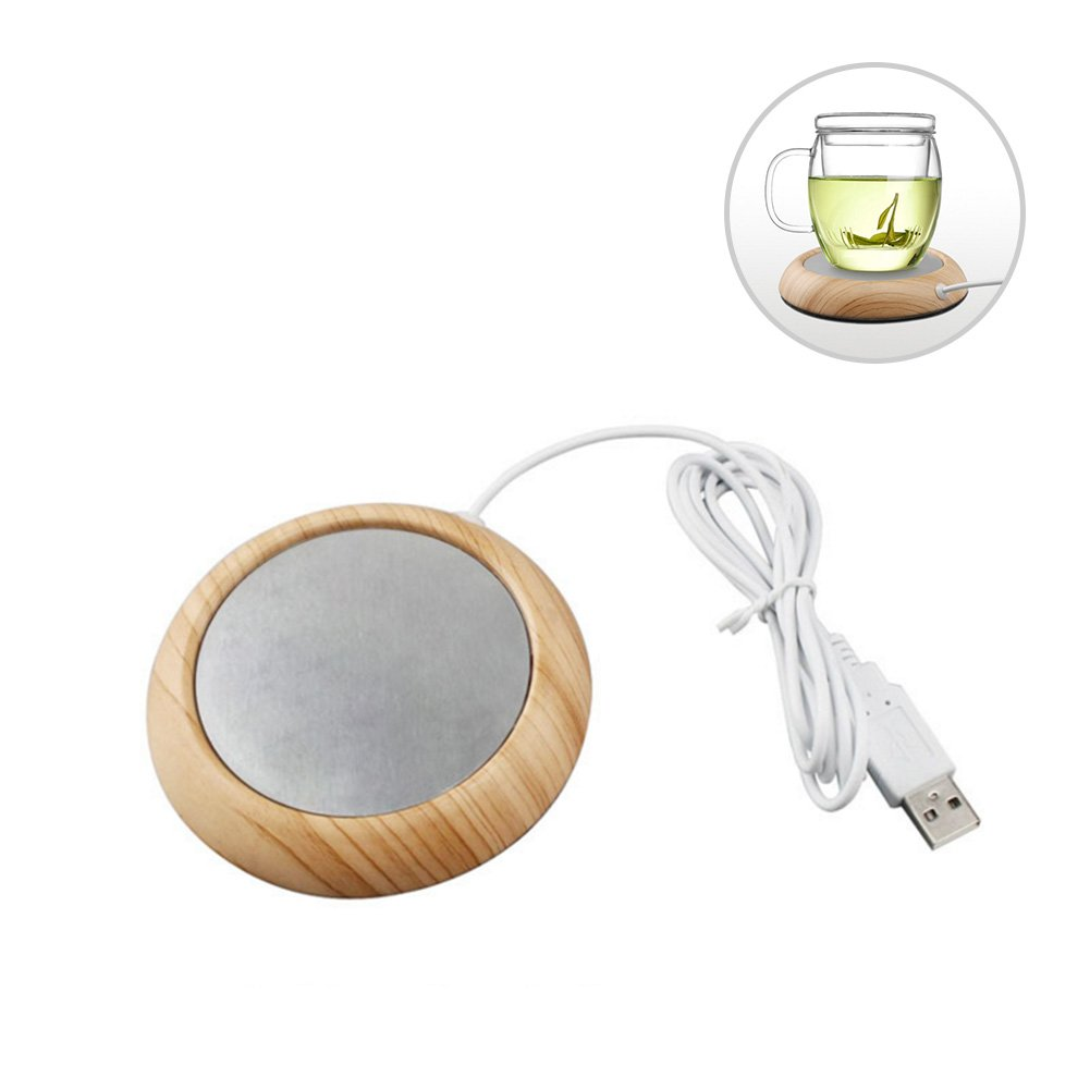 HaloVa Mug Warmer, Electric Safely Constant Warming Cup Warmer for Office Home Travel Use Water Milk Tea Coffee Cocoa Beverage (Up to 176℉/72℃), Light Wood Grain
