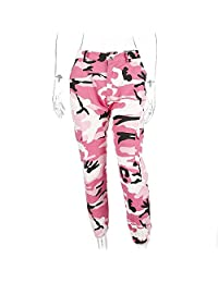 Women 2017 Autumn Red Camouflage Pants