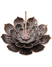 3 Inch Lotus Stick Incense Burner, Brass Incense Holder and Cone Incense Holder with Ash Catcher, Holder Artistic Lotus Flower Censer Plate Incense Tray fit for 1-2 mm Incenser Cone