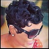 RUISENNA 100% Human Hair Short Curly Wigs For Black Women Pixie Wig Big Curls Short Wig