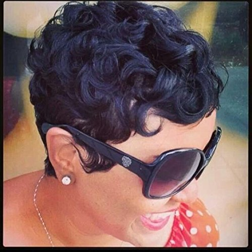 Curl Womens Wig - RUISENNA 100% Human Hair Short Curly Wigs For Black Women Pixie Wig Big Curls Short Wigs