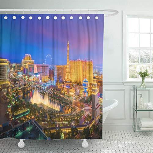 Semtomn Home Bathroom Decorative Shower Curtain Aerial View of Las Vegas Strip in Nevada As 60x72 Inch Waterproof Bathroom Decor Set with Hooks